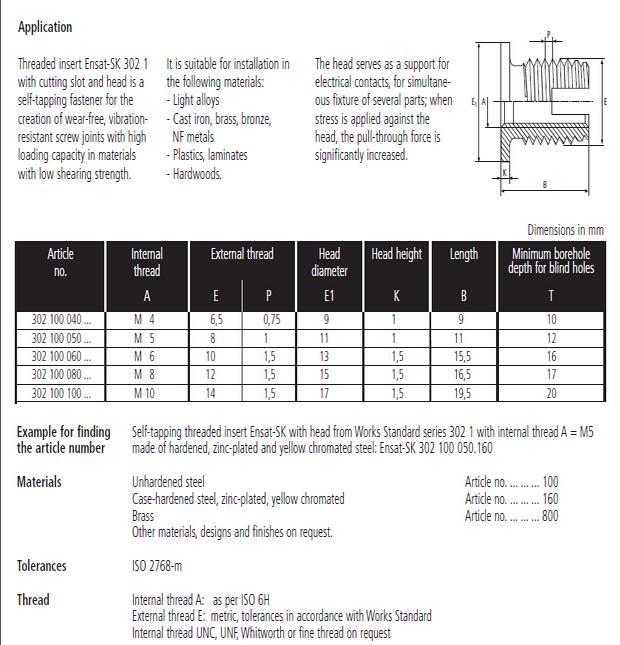 302-1型自攻衬套规格